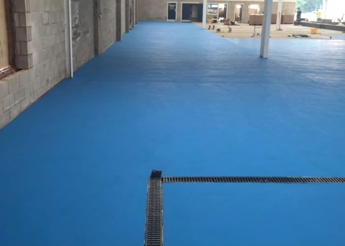 This is an image of blue resin anti slip flooring